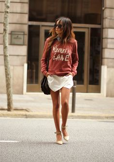 Scotch and Soda sweatshirt, Zara skort, Charles Jourdan heels