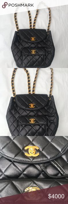6d63b626d699 Chanel Mini Black Backpack Authentic Chanel black quilted leather backpack  in like new condition no flaws