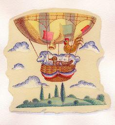 An early balloon flight; editorial illustration 1980s