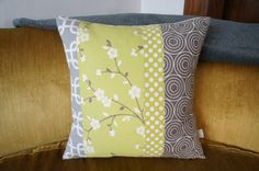 contemporary quilt pillow case 20x20 green and grey by HAWThome, $32.00