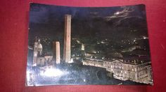 BOLOGNA  Italy  by night  old post card  POSTED 1954