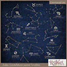 Zodiac Constellations Layered Templates #CUdigitals cudigitals.com cu commercial digital scrap #digiscrap scrapbook graphics
