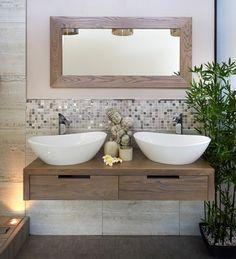 Łazienki badezimmer trend 2014 naturmaterialien holz pflanzen