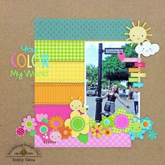 *** Doodlebug Design *** You Color My Word - Scrapbook.com - Made with the Hello Sunshine collection.