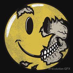 'Smiley face skull' Art Print by R-evolution GFX Skull Wallpaper, Emoji Wallpaper, Fire And Ice Wallpaper, Globe Logo, Skateboard Design, Chicano Art, Lowbrow Art, Skull Art, Anime Art Girl