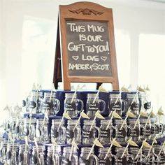 Love this - it's a favour and they use it to drink out of for the evening. We can put names on each cup and put it at their seat or something!!