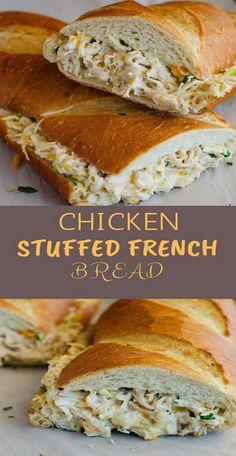 Chicken Stuffed French Bread Recipe | Grace Family Recipes #chicken #chickenfoodrecipes
