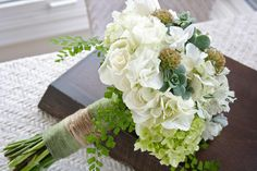 cream and green bouquet -- love this minus the hemp bouquet tie