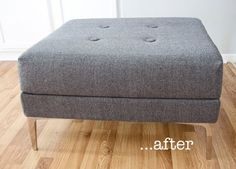 Reupholstered Ottoman — Before & After   Apartment Therapy