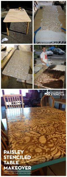 A DIY stenciled table idea using the Paisley Allover Stencil pattern. http://www.cuttingedgestencils.com/paisley-allover-stencil.html #stencils #table #makeover
