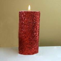 Red Glitter Pillar Candle, Decorative Unscented Candle, Wedding Decor