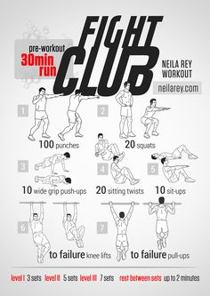 Fight Club Workout / What it works: quads, hamstrings, biceps, triceps, abs and core.