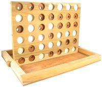 All-wood connect four game! The game includes 42 wooden playing pieces - half in natural dark wood, and the remainder are painted white. What's more, The dark checkers have a large hole in the center to make it easy for blind players to tell them apart from the white ones. And once it's time to put the game away, you simply tuck all the discs into the board, fold the board down flat into the included wooden base, and lock everything in place with two sturdy wooden pins.