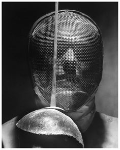 """Portrait of Fencer Wearing Sabre Mask, 1955 -by Andreas Feininger [ref.: Life] patriciadamiano: """" Andreas Feininger, Portrait of Fencer Wearing Sabre Mask currrzio """" Edward Weston, August Sander, Robert Doisneau, Kendo, Sport Photography, White Photography, Straight Photography, Vintage Photography, Street Photography"""