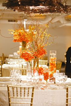 Wedding Reception at Abigail Kirsch Loading Dock Events, Stamford, CT Wedding Stage Decorations, Wedding Table Flowers, Floral Wedding, Flower Centerpieces, Wedding Centerpieces, Orange Wedding, Autumn Wedding, Bridal Gown, Abigail Kirsch