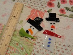 FUSED GLASS SNOWMEN by CreativelyReused on Etsy, $8.95