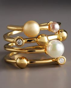Four-Band Pearl Ring by Majorica at Neiman Marcus.