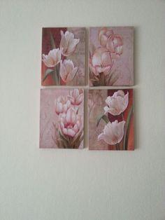 Canvas art(Tuvale beğendiğim resimleri dekopaj yaptım. Yanlarını da resme uygun boyadım. )