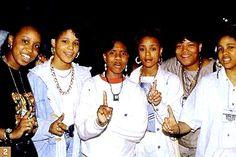 Jazzy Joyce, Peaches, MC Lyte, Michie Mee, Queen Latifah & Monie Love at the New Music Seminar in 1989.