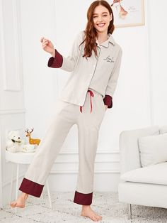 SHEIN offers Letter Embroidered Striped Pajama Set & more to fit your fashionable needs. Girls Sleepwear, Sleepwear & Loungewear, Nightwear, Night Pajama, Pajama Set, Pajama Party, Night Suit For Girl, Stylish Dresses For Girls, Striped Pyjamas