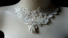 Beaded Lace Applique in Ivory for Bridal Jewelry by MaryNotMartha, $4.00