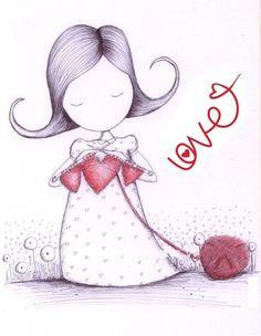 Muñequita tejiendo corazones