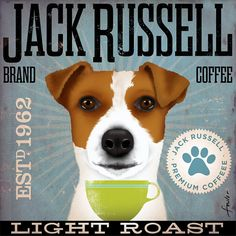 Jack Russell Coffee company vintage style graphic artwork on canvas 12 x 12 by stephen fowler