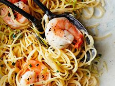 Angel Hair Pasta with Shrimp and Green Garlic