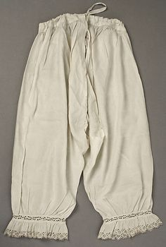 1840s  Woman's Drawers, American or European.  Drawstring waist, hem gathered and with lace trim.  metmuseum.org