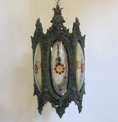 Early English lantern in a verdigris brass finish, originally for gas, now converted to electric. www.antiquelightingcompany.com