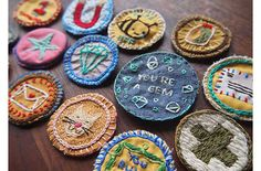 I started doing this, it's really cool!Embroidered DIY Merit Badges on Etsy | | Kiddley