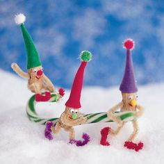 Nutty Little Elves Holiday Ornaments  Materials  Ballpoint pen   Peanuts in the shells  Brown pipe cleaners cut into 3-inch pieces  Colored pipe cleaners  Craft glue  Mini googly eyes  Pom-poms in assorted colors and sizes  Fine-tip markers  Scissors  Felt, assorted colors  Craft sticks  Toothpicks  Candy canes  Ribbon