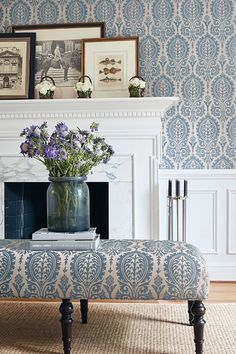 Sir Thomas by Thibaut is a smart all over design wallpaper with a repeat medieval damask motif.