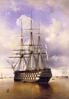 Russian 110-gun ship Imperator Aleksandr (1827). Painter Ferdinand Perrot