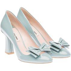 Miu Miu Pumps ($595) ❤ liked on Polyvore featuring shoes, pumps, heels, miu miu, scarpe, lake blue, patent leather shoes, blue heel shoes, blue pumps and miu miu shoes