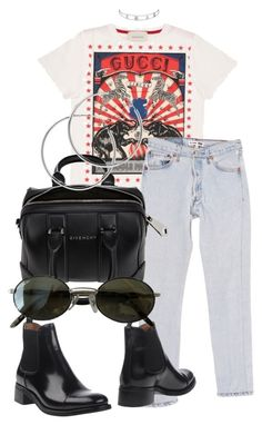"""""""Look:#512"""" by dollarwomanlux ❤ liked on Polyvore featuring Gucci, RE/DONE, Church's, Givenchy, Ray-Ban and Melissa Odabash"""