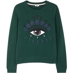 KENZO Green eye-embroidered cotton sweatshirt (£175) ❤ liked on Polyvore featuring tops, hoodies, sweatshirts, green sweatshirt, green top, embroidered top, embroidered cotton top and embroidered sweatshirts