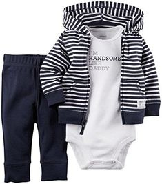 Carter's 3 Piece Cardigan Set (Baby) - Navy Stripe Carter's is the leading brand of children's clothing, gifts and accessories in America, selling more than 10 products for every child born in the U.S. Their designs are based on a heritage of quality and innovation that has earned them the trust of generations of families. #babyclothes