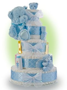 Baby Shower Diaper Cake Ideas for Boys Blue Teddy Bear