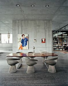 Concrete colored upholstery on the Platner chairs: Conrete love in Berlin, Borros Bunker....