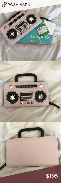 2X HP Kate Spade Boombox Wallet Authentic, cute wallet. Has 12 card slots, two money slots and a coin pouch. Can fit a phone as well. Can be used as a wallet or a clutch. Adorable boombox pattern on the front that makes it unique and cute. kate spade Bags Wallets