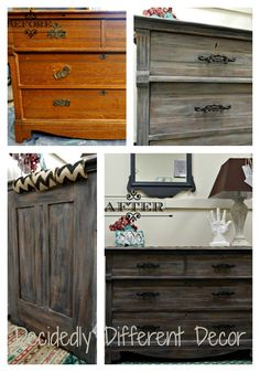 Weathered Wood Finish with Heirloom Traditions Chalk Type Paint.  Use Chalk Paint to create beautiful finishes on your furniture.  Check us out at facebook.com/decidedlydifferentdecor
