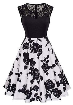 HOMEYEE Women's Vintage Chic Sleeveless Cocktail Party Dress (XXL, Black + White) Source by dresses cocktail Cute Prom Dresses, Dresses For Teens, Simple Dresses, Homecoming Dresses, Pretty Dresses, Beautiful Dresses, Short Dresses, Girls Dresses, Mode Outfits