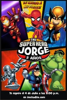 invitaciones infantiles de the super hero squad