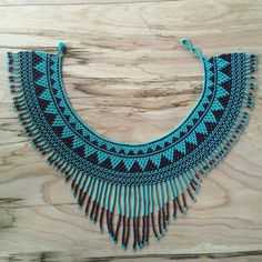 GUERRERA Fringe Necklace / Beaded Necklace / Collar / Statement Necklace / Tribal Jewelry / Guatemalan / Boho / Choker / Turquoise-Purple