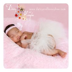 Sleeping baby portrait wearing our new white tutu and pink misty rose headband from Daisy and Honeybee.