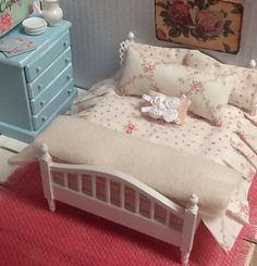 Miniature Dollhouse Shabby Bed, Rug and Bedding Set