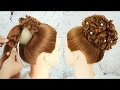 Beautiful Hairstyle For Party Wedding 2019 - Bridal Bun Hairstyle Tutori. Beautiful Hairstyle For Cool Hairstyles For Girls, Bun Hairstyles For Long Hair, Trending Hairstyles, Haircut For Thick Hair, Party Hairstyles, Girl Hairstyles, Beautiful Hairstyles, Braid Hairstyles, Bridal Hair Buns