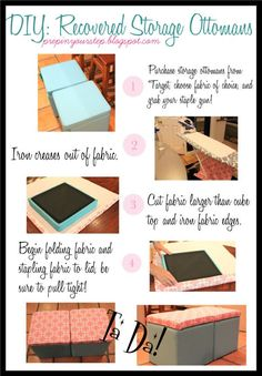 Dorm It Yourself: Storage Ottoman Recover, Super easy and only costs about $25!