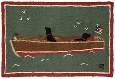 This 2' x 3' Hooked wool rug captures 2 Dogs out on the lake in a classic wooden boat.Laura Megroz Design